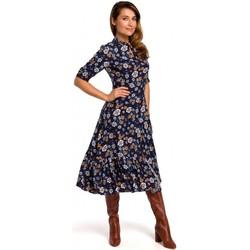 Kleidung Damen Kleider Style S177 Midikleid mit Blumenmuster - Modell 2
