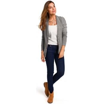 Kleidung Damen Tops / Blusen Style S198 Strickjacke mit Druckknöpfen - grau