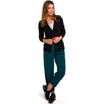 Kleidung Damen Strickjacken Style S198 Strickjacke mit Druckknöpfen - schwarz