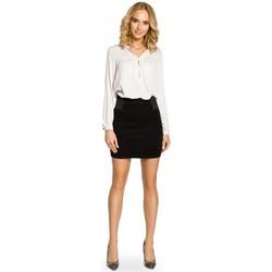 Kleidung Damen Röcke Moe M042 Einfarbiger Minirock mit elastischem Taillenband - schwarz