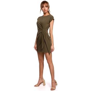 Kleidung Damen Kurze Kleider Moe M508 Minikleid mit Knoten - khaki