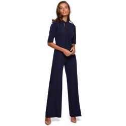 Kleidung Damen Overalls / Latzhosen Style S243 Eleganter Jumpsuit mit Krawattenausschnitt - navy blau
