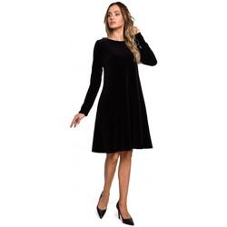 Kleidung Damen Kurze Kleider Moe M566 Relaxed Fit Kleid aus Samt - kastanienbraun
