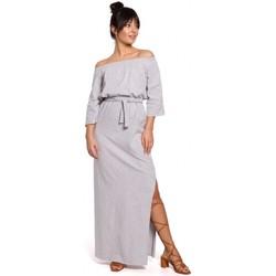 Kleidung Damen Kleider Be B146 Schulterfreies Maxikleid - grau