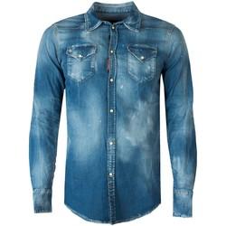 Kleidung Herren Langärmelige Hemden Dsquared  Blau