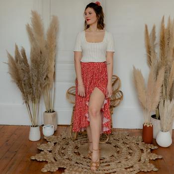 Kleidung Damen Röcke Céleste TOURTERELLE Rot / Multicolor