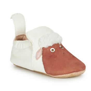 Schuhe Kinder Hausschuhe Easy Peasy BLUBLU MOUTON Weiss