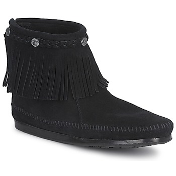 Schuhe Damen Boots Minnetonka HI TOP BACK ZIP BOOT Schwarz