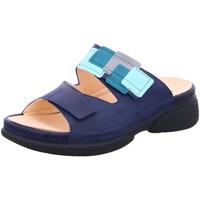 Schuhe Damen Pantoffel Think Pantoletten Indigo kombi 86400-90 blau