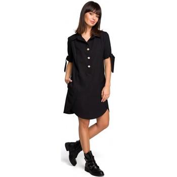 Kleidung Damen Tuniken Be B112 Tunika mit Kragen und gebundenen Ärmeln - schwarz