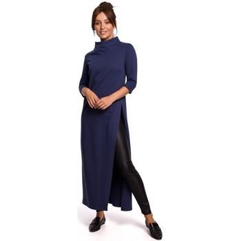 Kleidung Damen Tuniken Be B163 Hochgeschlitzte Tunika - blau