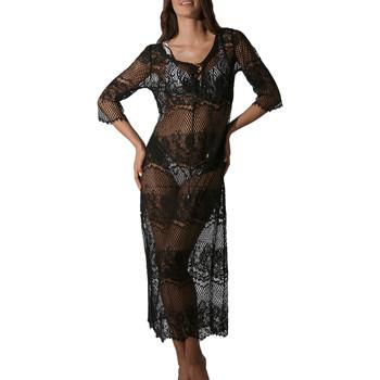 Kleidung Damen Pareo Luna Langes transparentes Spitzen-Strandkleid Malibu schwarz Perlschwarz