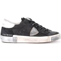 Schuhe Herren Sneaker Low Philippe Model Sneaker Paris X in Leder und Veloursleder und Silber Schwarz