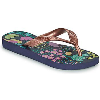 Schuhe Mädchen Zehensandalen Havaianas KIDS FLORES Marine / Gold