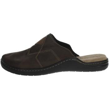 Schuhe Herren Pantoffel Uomodue LEATHER-58 Braun