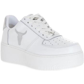 Schuhe Damen Sneaker Windsor Smith RICH BRAVE WHITE SILVER PERLISHED Bianco