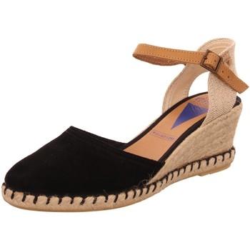 Schuhe Damen Leinen-Pantoletten mit gefloch Verbenas Sandaletten Malena-negro schwarz