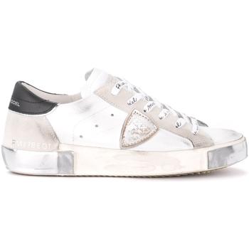 Schuhe Damen Sneaker Low Philippe Model Sneaker Paris X in weißem Leder und Veloursleder mit Weiss