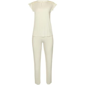 Kleidung Damen Pyjamas/ Nachthemden Lisca Pyjamahose kurze Ärmel Oberteil Hose indoor tragen Ernte Gelb