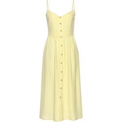 Kleidung Damen Kurze Kleider Lascana Sommer langes Kleid Leinen gelb Khaki