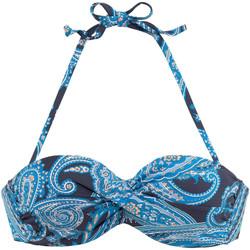 Kleidung Damen Bikini Ober- und Unterteile Lascana Boho  Bandeau-Badeanzug Top mit Armatur Elfenbein
