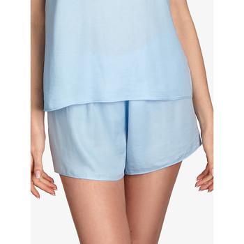Kleidung Damen Pyjamas/ Nachthemden Ajour Vergissmeinnicht kurze Pyjamahosen Himmelblau Blau Ciel