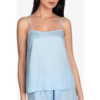 Kleidung Damen Pyjamas/ Nachthemden Ajour Vergissmeinnicht-Pyjamatop in himmelblauem -Hemd Blau Ciel