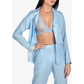 Kleidung Damen Pyjamas/ Nachthemden Ajour Vergissmeinnicht langärmliges Pyjamatop in himmelblauem Blau Ciel