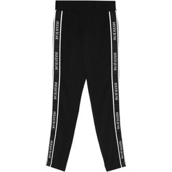 Kleidung Damen Jogginghosen Sixth June Legging  bande imprimée noir/blanc
