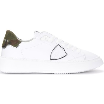 Schuhe Herren Sneaker Low Philippe Model Sneaker Temple in weißem Leder und Camouflage Muster Weiss