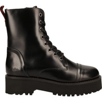 Schuhe Damen Boots Buffalo Stiefelette Schwarz Lack