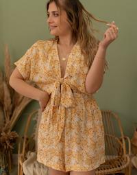 Kleidung Damen Overalls / Latzhosen Céleste AZALEE Gelb / Weiss