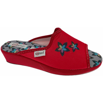 Schuhe Damen Pantoffel Cristina CRI47ross rosso