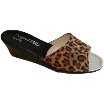 Schuhe Damen Pantoffel Milly MILLY103animal nero