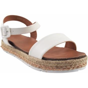 Schuhe Mädchen Leinen-Pantoletten mit gefloch Bubble Bobble Mädchensandale  a3280 weiß Weiss