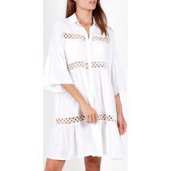 Kleidung Damen Pareo Admas Sommer Tunika mit drei Viertel Ärmel  Shirt Weiß