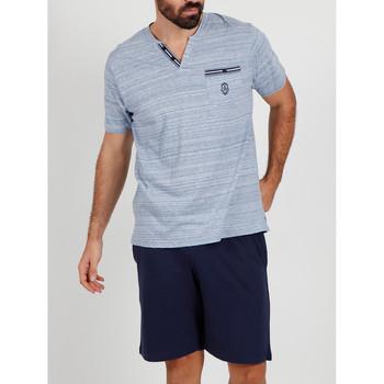 Kleidung Herren Pyjamas/ Nachthemden Admas For Men Pyjama kurzes T-shirt Licht Streifen blau Admas Blau