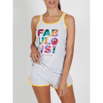 Kleidung Damen Pyjamas/ Nachthemden Admas Pyjama-Shorts Tanktop Glitter Smiley grau Hellgrau