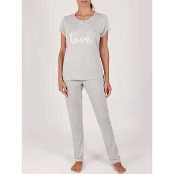 Kleidung Damen Pyjamas/ Nachthemden Admas Pyjama Hose T-Shirt Loungewear Love Pucker grau Hellgrau