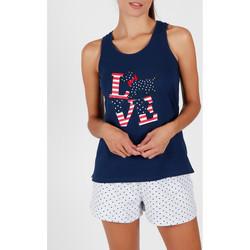 Kleidung Damen Pyjamas/ Nachthemden Admas Pyjama-Shorts Tanktop LouLou Love Blau Marine