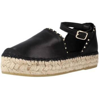 Schuhe Damen Leinen-Pantoletten mit gefloch Vidorreta 06833NAMD Schwarz