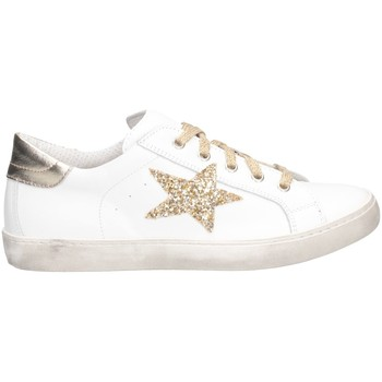 Schuhe Mädchen Sneaker Low Dianetti Made In Italy I9869 Sneaker Kind WEISS / GOLD LAM WEISS / GOLD LAM