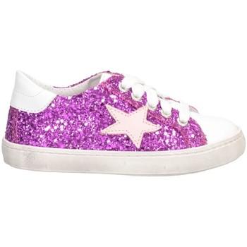 Schuhe Mädchen Sneaker Low Dianetti Made In Italy I9869 Sneaker Kind WEISS / LILA GLIT WEISS / LILA GLIT