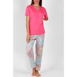 Kleidung Damen Pyjamas/ Nachthemden Admas Pyjama Hose T-Shirt Colored Diamonds rosa Zartrosa
