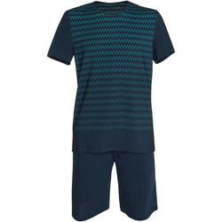 Kleidung Herren Pyjamas/ Nachthemden Lisca Pyjama-Shorts T-shirt Hypnos blau  Männer Blau