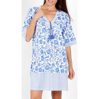 Kleidung Damen Kurze Kleider Admas Etienne blau kurze Ärmel Sommerkleid Blau