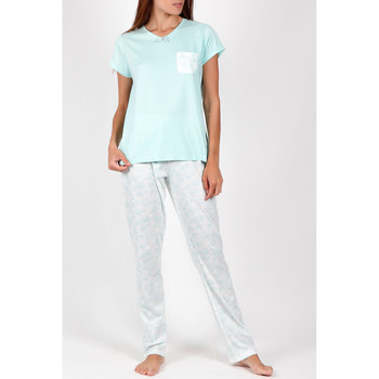 Kleidung Damen Pyjamas/ Nachthemden Admas Pyjamahose T-shirt Sommer Blumen grün Dunkelgrün