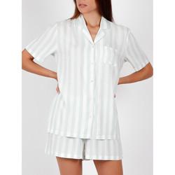 Kleidung Damen Pyjamas/ Nachthemden Admas Pyjamahemd kurz Classic Streifen grün Dunkelgrün