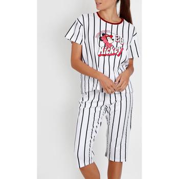 Kleidung Damen Pyjamas/ Nachthemden Admas Pyjamahose t-shirt Mickey Beisbol Disney weiß Weiß