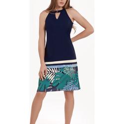 Kleidung Damen Kurze Kleider Lisca Ärmelloses Sommerkleid Tahiti Blau
